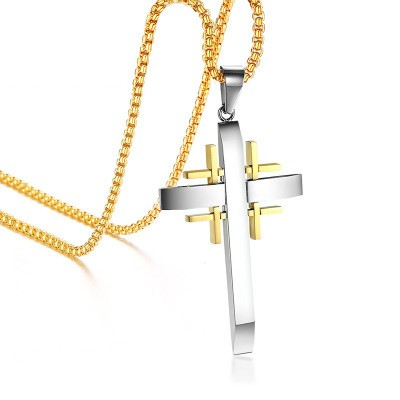 Tinnivi Special Design Silver Gold Cross Titanium Steel Pendant Necklace For Men