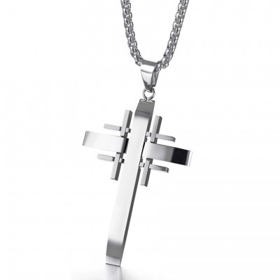 Tinnivi Silver Titanium Steel Special Design Cross Pendant Necklace For Men