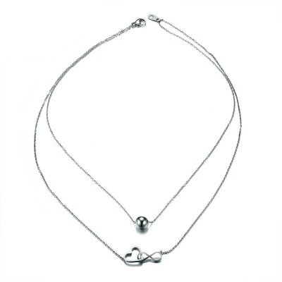 Tinnivi Titanium Steel Ball With Hollow Out Heart Infinite Two False Pendant Necklace For Women