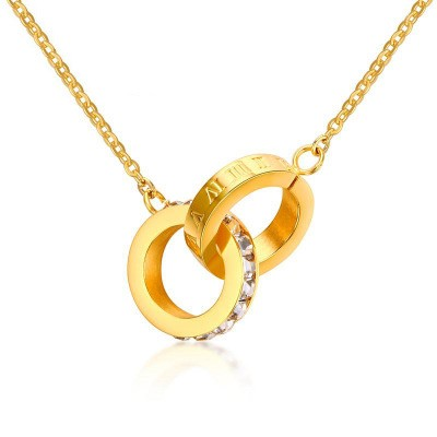 Tinnivi Gold Titanium Steel Roman Numeral Created White Sapphire Two Rings Pendant Necklace For Women
