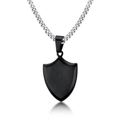 Tinnivi Personalized Black Titanium Steel Shield Pendant Necklace For Men