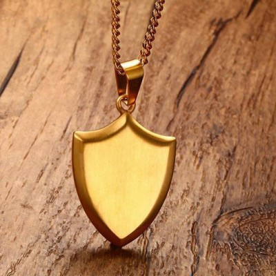 Tinnivi Personalized Gold Titanium Steel Shield Pendant Necklace For Men