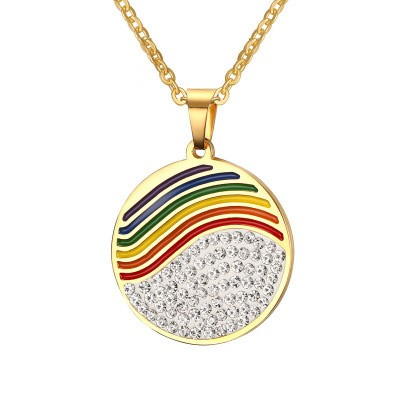 Tinnivi Gold Titanium Steel Half Rainbow Half Created White Sapphire Pendant Necklace For Women
