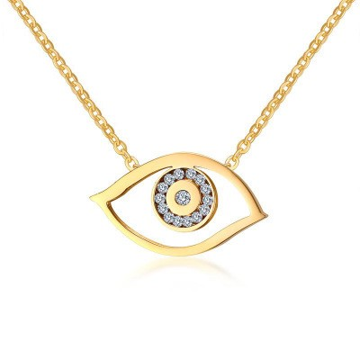 Tinnivi Gold Plated Titanium Steel Eyes Design Created White Sapphire Pendant Necklace for Women