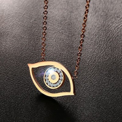 Tinnivi Eyes Design Rose Gold Plated Titanium Steel Created White Sapphire Pendant Necklace for Women