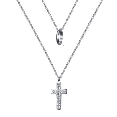 Tinnivi Titanium Steel Ring And Created  White Sapphire Cross Pendant Two False Necklace for Women