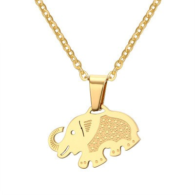 Tinnivi Gold Titanium Steel Elephant Pendant Necklace for Women