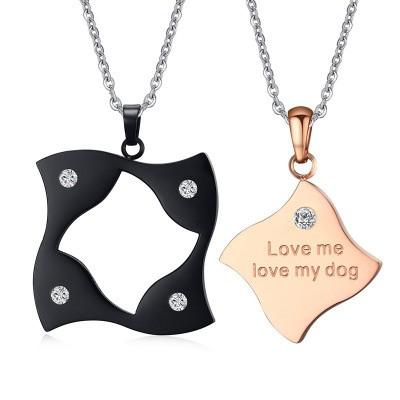 Tinnivi Black And Rose Gold Titanium Steel With Created White Sapphire Pendant Necklace for Couples