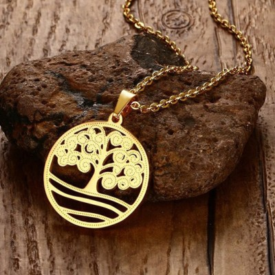 Tinnivi Hollow Out Lucky Tree Gold Titanium Steel Pendant Necklace for Women