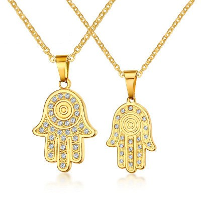 Tinnivi Hamsa Palm Created White Sapphire Gold Titanium Steel Pendant Necklace for Couples