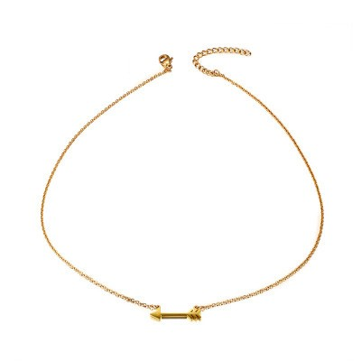 Tinnivi Gold Titanium Steel Elegant Arrow Pendant Necklace For Women