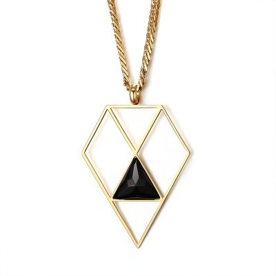 Tinnivi Diamond Shape Hollow Out Gold Titanium Steel Created Agate Pendant Necklace For Women