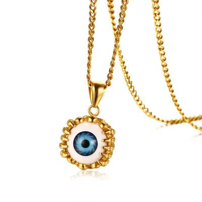 Tinnivi Gold Titanium Steel Dragon Claw Blue Devil Eye Pendant Necklaces For Men