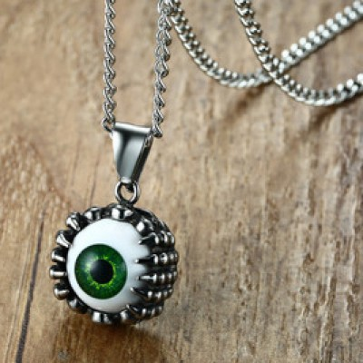 Tinnivi Titanium Steel Dragon Claw Green Devil Eye Pendant Necklaces For Men