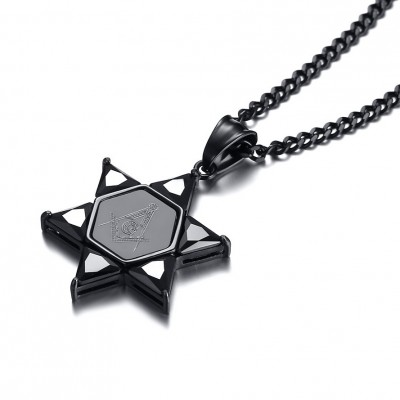 Tinnivi Black Titanium Steel Fraternal Order Hexagram Pendant Necklace For Women
