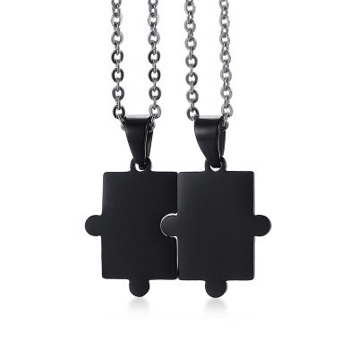 Tinnivi Black Titanium Steel Jigsaw Pendant Necklace For Couples