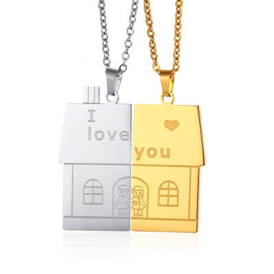 Tinnivi Silver And Gold Titanium Steel I Love You House Pendant Necklace For Couples