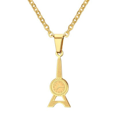 Tinnivi Fashion Gold Titanium Watch Tower Pendant Necklace For Women