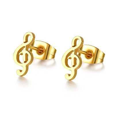 Tinnivi Gold Titanium Steel Cute Music Note Small Stud Womens Ear Stud Earrings