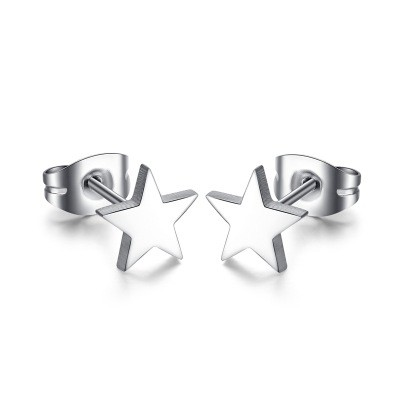 Tinnivi Titanium Steel Silver Plain Pentagram Star Stud Earrings
