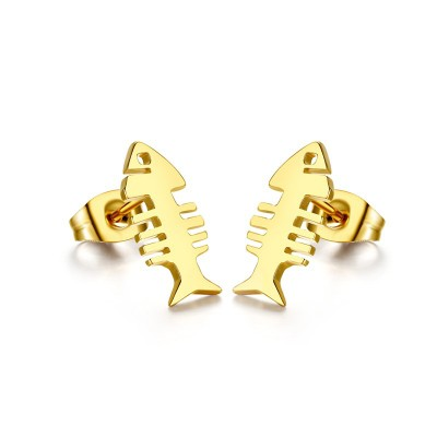 Tinnivi Titanium Steel Gold Plated Women with Fish Bone Stud Earrings