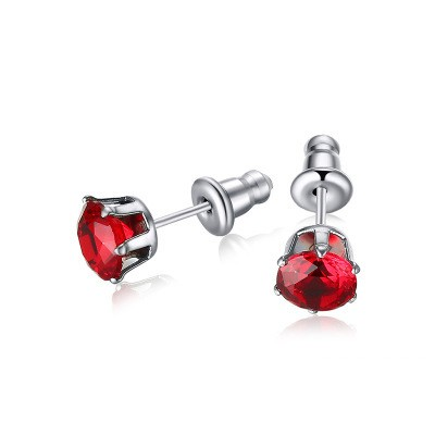 Tinnivi Titanium Steel Created Ruby Stud Earrings For Women