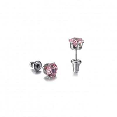 Tinnivi Titanium Steel Created Pink Gemstone Stud Earrings For Women