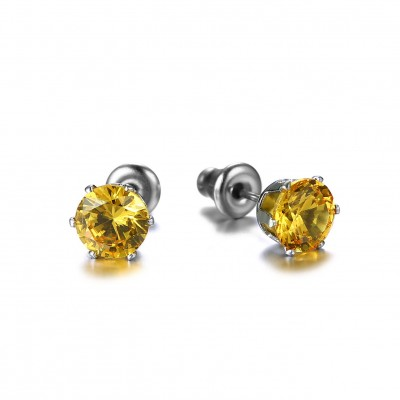 Tinnivi Titanium Steel Created Topaz Stud Earrings For Women