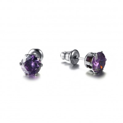 Tinnivi Titanium Steel Created Purple Gemstone Stud Earrings For Women