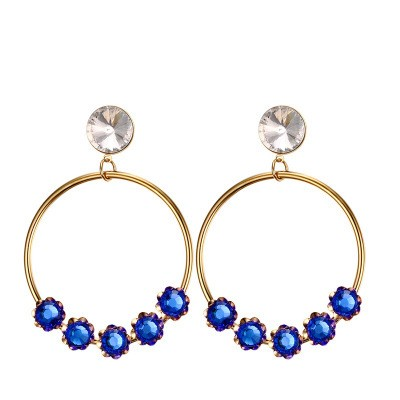 Tinnivi Gold Titanium Steel Large Loop With Created Sapphire Dangle Earrings
