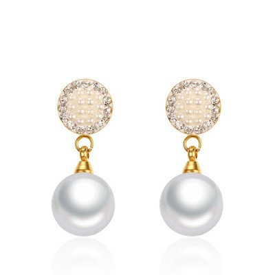 Tinnivi Created White Sapphire With Pearl Gold Titanium Steel Round Dangle Earrings
