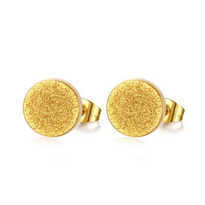Tinnivi Simple Gold Titanium Steel Dull Polish Stud Earings For Women