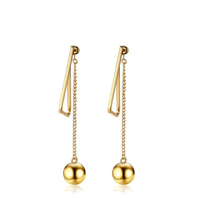 Tinnivi Gold Titanium Steel Ball Elegant Long Dangle Womens Earrings