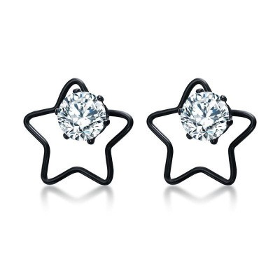 Tinnivi Black Titanium Steel Created White Sapphire Hollow Out Pentagram Stud Earrings For Women