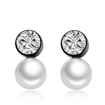 Tinnivi Created White Sapphire With Pearl Black Titanium Steel Stud Earrings For Women