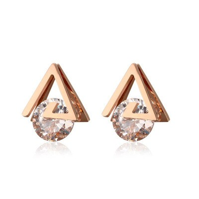 Tinnivi Rose Gold Plated Titanium Steel Hollow Out Triangle Created White Sapphire Stud Earrings For Women