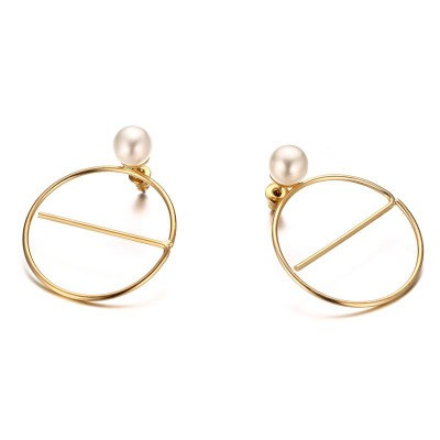 Tinnivi Gold Titanium Steel Circle With Pearl Drop Earring for Woman