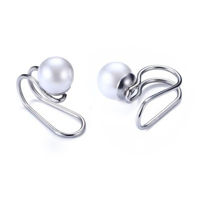 Tinnivi Non-Piercing Silver Titanium Steel With Pearl U-type Cartilage Ear Clip