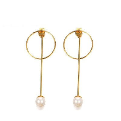 Tinnivi Gold Titanium Steel Circle With Pearl Dangle Earrings for Women