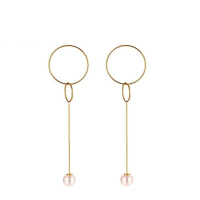 Tinnivi Two Gold Titanium Steel Circle With Pearl Dangle Earrings for Women