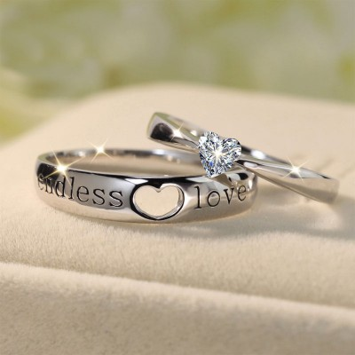 Tinnivi 925 Sterling Silver Endless Love Heart Couples Rings