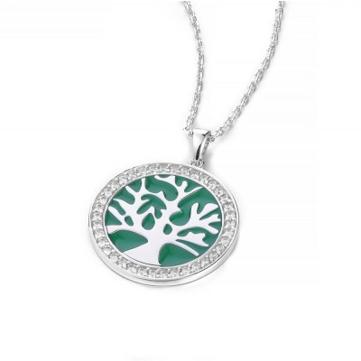 Round Green Tree Pendent 925 Sterling Silver Necklace