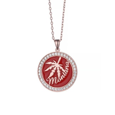 Red Maple Leaf Pendent 925 Sterling Silver Necklace