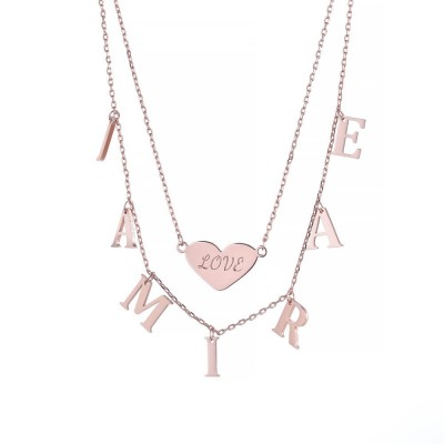 Double Layer Heart Name Personalized 925 Sterling Silver Necklace