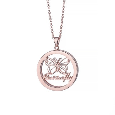 Butterfly Personalized Pendant 925 Sterling Silver Necklace