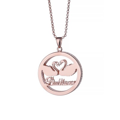 Round Twin Swans Personalized Pendant 925 Sterling Silver Necklace