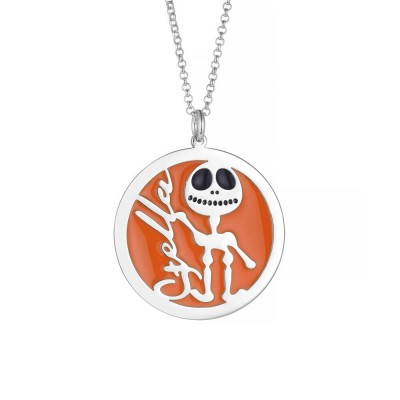 Round Orange Skull Personalized 925 Sterling Silver Necklace