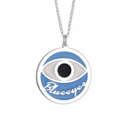 Blue Demon Eye Personalized Pendant 925 Sterling Silver Necklace