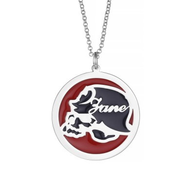 Helmet Skull Personalized Pendant 925 Sterling Silver Necklace