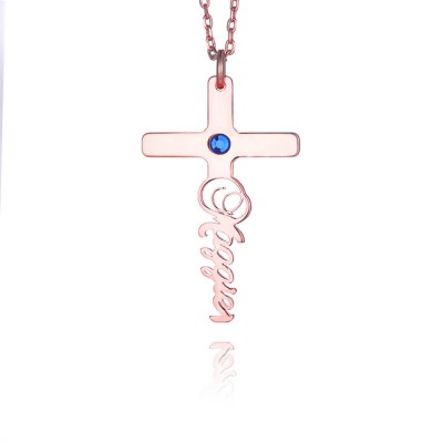 Cross Engraved  Birthstone Personalized Pendant 925 Sterling Silver Necklace
